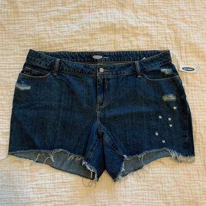Old Navy Dark Wash Embroidered Cutoff Denim Shorts